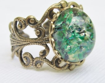 Emerald Green Opal Ring, Rare Vintage Glass Opal, Brass Filigree Rings, Emerald Green Jewelry, Emerald Green Fire Opal Ring