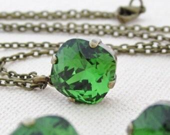 Fern Green Swarovski Rhinestone Necklace, Green Crystal Necklace, Rhinestone Wedding Jewelry, Antique Brass, Green Silver Necklace