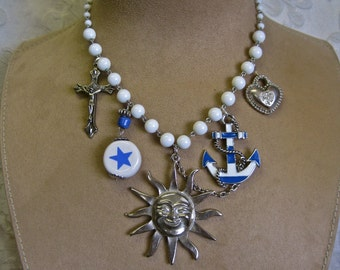 Good Morning Sunshine: Nautical Charm Necklace Faith Hope Charity Silver Sun White Blue Vintage Assemblage Statement Anchor Heart Cross