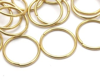 20mm Jump Ring - 40 Raw Brass Jump Rings (20x1.5mm)   D234