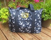 Navy Anchor WEEKENDER tote bag with free monogram.  Zippered Closure.