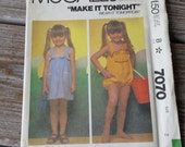McCall's 7070 Toddler and Children's Jumper and Sundress Pattern Size 2