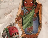 bellydancer fabric PAPER DOLL finished! | embellished Dress + elephant | Ethnic Doll 1930's Repro | Paper Dollies quiet play | magnet gift