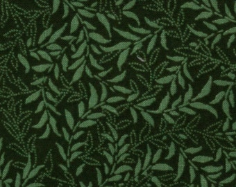 Forest green cotton fabric,Light green leaves, Fat quarters, Quilting and clothing, 44 inches wide