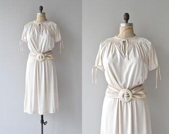 Chrissy dress | vintage 1970s dress • cream belted 70s dress