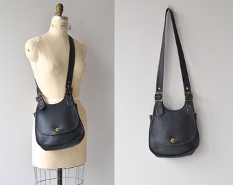 Coach 'Crescent Saddle' bag | vintage black Coach bag | black leather shoulder bag