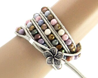 Beaded Wrap Bracelet Czech Glass Beads, Leather Cord, Handmade, Pastel Shades, 4x Wraps