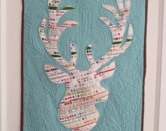 Stag Head Art Quilt , Deer Wall Hanging , Buck Wall Hanging , Nature Art Quilt , Quilted Wall Hanging