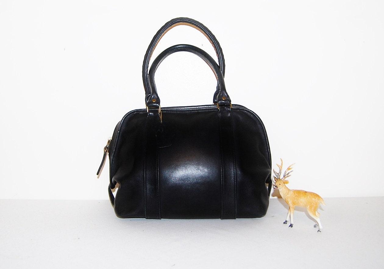 Vintage Coach Black Leather Saddle Bag Purse Ahoy Comics