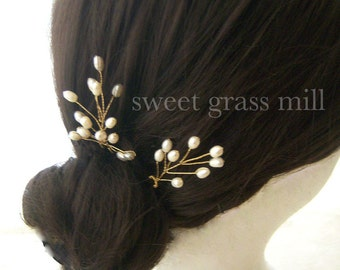 "Pearl Fascinators - Set of 2 Freshwater Pearl Gold Plated Wire Wrapped Bridal Pins ""Perle Blossoms"""