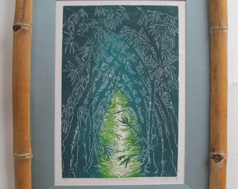 "Into the Bamboo Forest"", limited edition lino print, hand printed and signed in pencil by the aritst"