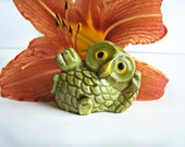 Vintage Plastic Owl Figurine Just chillin Green Owl Miniature collectible for display ,dish garden 1970s miniature decor #16