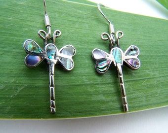 Vintage Earrings Sterling Dragonfly Paua Shell Inlay Insect Shape Dangles Earrings on sterling earwires Purchased in Mexico 1982 Dragonflies