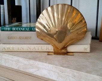 Large Solid Brass Scallop Shell Bookend
