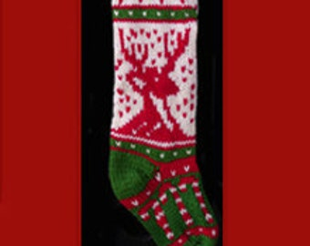 Hand knit Christmas stocking,  Personalized, made of pure wool yarn,  fully lined -- candy cane, heart and reindeer
