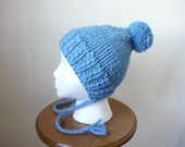 Knit Toddler Hat Chunky Split Brim Hat with Braids Winter Hat Sky Blue Hat Pompom Hat Size 1-3 Years - Ready to Ship - Direct Checkout