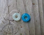 Dread Bead, One glow-in-dark Dread Bead, 4 5 or 6 mm hole, aqua blue or clear glass, lampwork spacer bead, glow in the dark