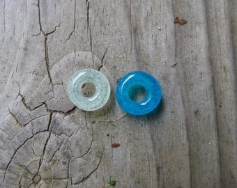 Glow in the dark, dreadlock decoration, 8 or 9 mm hole, made to order, aqua blue or clear glass bead (1), glass dread bead