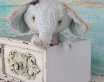 Vintage style mint Elephant 4.3 inches tall handmade teddy bear by Woollybuttbears
