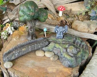 Fairy Garden  Miniature raised garden with bridge  Gnome, miniature, dollhouse or container Garden decor