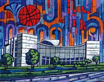 IU Basketball, IU Assembly Hall, Indiana University, Indiana Hoosiers 8x10 Art Print by Anastasia Mak
