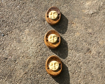 Hand Made Terracotta Oval Face Button