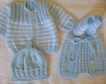 Knitted Baby Outfit, Spring Baby Set, Newborn Boy Set, Baby Shower Gift, Coming Home Outfit, Knitted Boy Ensemble, Four Pces Baby Set.