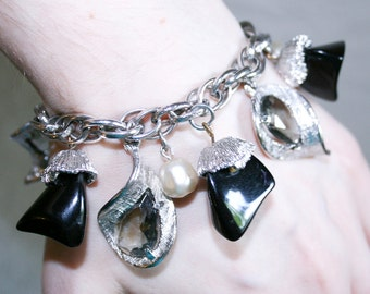 Silver Black And Pearl Chunky Charm Bracelet