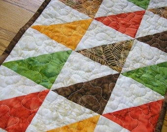 Quilted Table Runner, Tropical Batik Runner, Orange, Gold, Green, Brown,  12 1/2  x 40 inches
