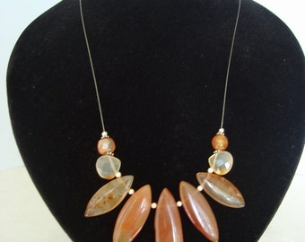 Fire Agate Flame Necklace-Marquis Cut