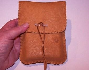 Leather Tarot Bag / Medicine Bag...LARGE Vertical Flap....RUST