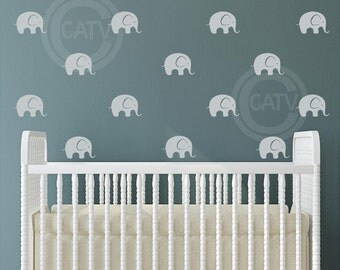 Wall Pattern Elephants set of 30 self adhesive vinyl decal wall stickers