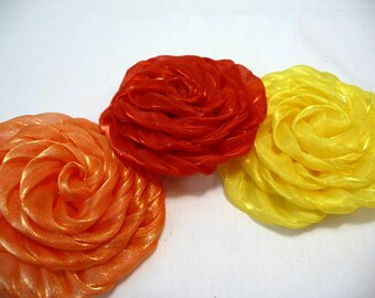 Rolled Rose Pins, Set of Three Pins, Embrllishments, Orange, Yellow, Red, Pin Backs, Headband Accessories, Shiny Fabric, Sheer Fabric Roses