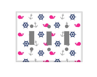Whale Switchplate Cover / Nautical Navy Hot Pink / Nursery Wall Decor / Electrical Outlet Cover / Custom Colors