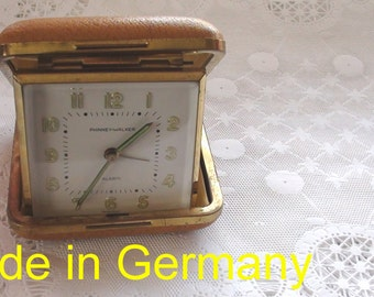 Phinney Walker Vintage Travel Alarm Clock with Illuminated Hands and Numbers Made in Germany  Working Mechanical 1950's