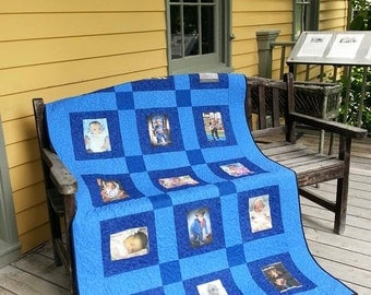 15 Photo Memory Quilt - Custom Made - Pick your colors