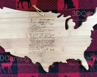 USA Board Recipe scanned from Mom's or Grandma's handwriting - USA Bamboo Cutting Board + Laser Engraved Recipe - Personalized 17.5 x 11.5
