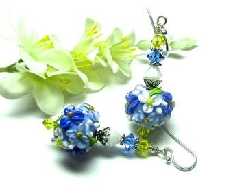 Blue Earrings Lampwork Earrings Floral Earrings Flower Earrings Round Bead Earrings Glass Earrings Artisan Earrings Spring Earrings