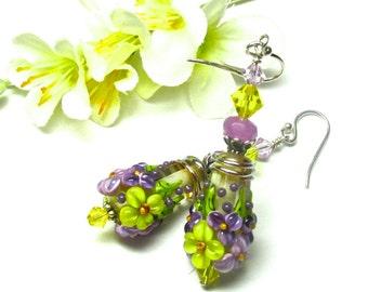 Spring Earrings Cone Earrings Lampwork Earrings Glass Earrings Floral Earrings Flower Earrings Artisan Earrings Beaded Earrings
