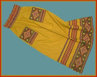 PROVENCAL Spice, Charles Demery, Souleiado Boho Maxi Skirt, Hot Summer Colors, Made in France, Very Slim Small Size, Vintage Fashion, Women