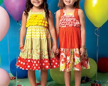 GIRLS DRESS PATTERN / Make Boutique Style Dress - Sundress / Summer Clothes / Sizes 1 - 3 or 4 - 6