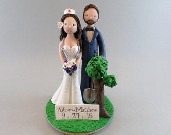 Nurse & Gardener Custom Handmade Wedding Cake Topper
