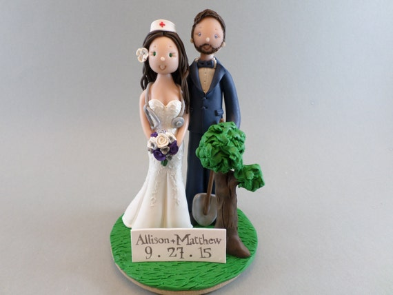 Nurse Gardener Custom Handmade Wedding Cake Topper
