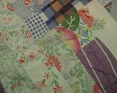 Vintage Tied Quilt Piece Pastels Feedsack Fabrics