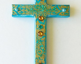 Decorative Wood Cross,Blue wood cross, Decorative wall art, Decorative wall cross