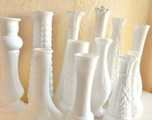 Instant Collection 12 White Milk Glass Vases Wedding Decor - No Two the Same