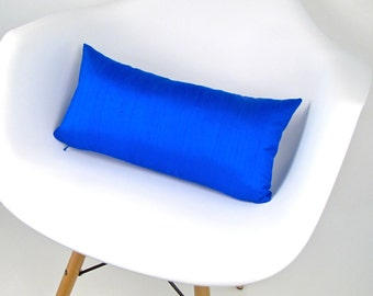 COBALT Blue Silk Pillow  - Small Blue Silk Pillow - Royal Blue Pillow - Cobalt Pillow - Little Blue Pillow