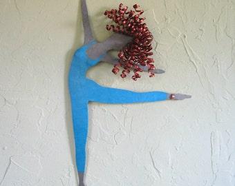 Metal Wall Art Dance Sculpture Recycled Metal Modern Dance Turquoise Blue Red Head Ballet Dancer 12 x 20