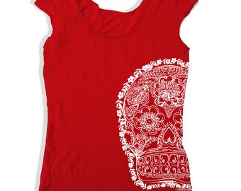 Womens Day of the DEAD 2 Scoop Neck Tee - american apparel T Shirt S M L XL (6 Colors)