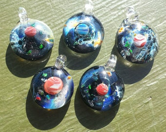 memorial space lovers  astronomy glass pendant with opal moon pet remembrance keepsake pendant by joe crisanti glass
